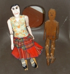 Two unusual dolls brought in on the day: the one on the left is made by Fred Whiting of Kenton, Suffolk