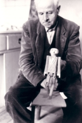 Walter Pardon, from Knapton, Norfolk, with a doll he made himself